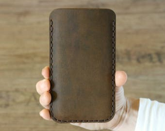 Leather iPhone 8 Sleeve, iPhone 8 Plus Case, Cell Phone Cover in Brown Leather - IP8-28BR