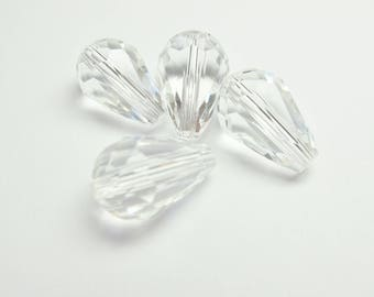4 CRYSTAL CLEAR 10/15 MM FACETED CRYSTAL DROPS