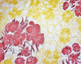 WHITE SILK SATIN CHIFFON PRINT FLOWERS MAHOGANY SAFFRON BORDEAUX 42/126 CM