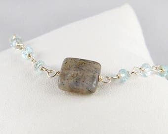 Bracelet 925 sterling silver, Topaz and Labradorite
