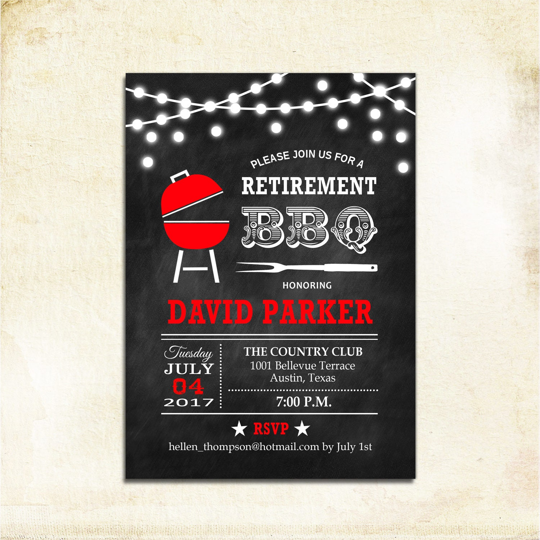 Retirement BBQ Party Invitation / BBQ Invite / Chalkboard Black Red ...
