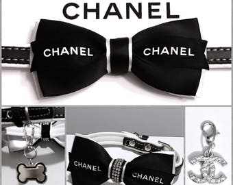 Couture COCO Cowhide Leather Black and White Bow Crystal Rhinestone Pet Collar with Designer Ribbon, Inspired COCO Chewnel Design