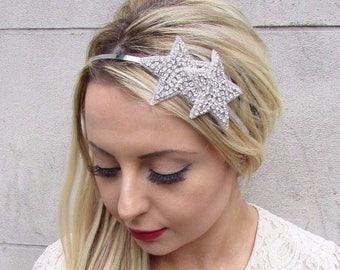 Silver Star Bridal Headband Wedding Headpiece Diamante Bridesmaid Hair Band 3596