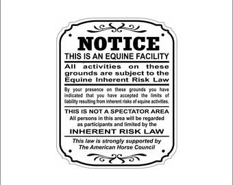 Supplemental Equine Liability Sign Warning Statute Horse Barn Stable Farm Sign - FREE SHIPPING