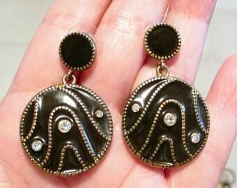 Black enamel rhinestone drop dangle earrings, rhinestone earrings, black earrings, gold tone black earrings, black pierced earrings, retro