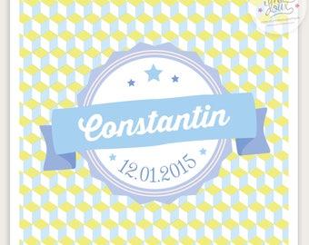 Faire-part de naissance personnalisable mixte CONSTANTIN , moderne et vintage