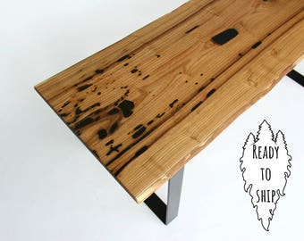 Catalpa Bench, Live Edge, Rough Edge, Solid Wood, Accent Table, Hallway