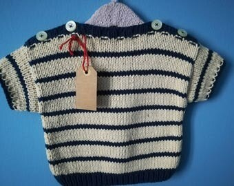 Knit in pure cotton for children 12 months in marine style