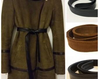 Replacement belts for vintage Belt fur Flat belt leather Belt leather for coat jacket Belt gray Belt black