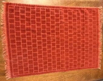 Brick pattern vintage orange 1970's hand towel