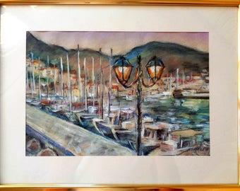 Original Painting Pastel Gouache Boats on Hydra Greek Island Night  Framed Wall Art Gift Home Office Decor