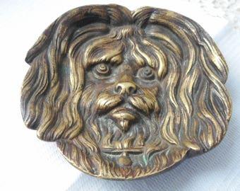 stunning vintage French bronze / brass shaped trinket dish . change dish