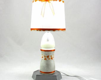 Baby bottle white and silver shade lamp white and orange @Rêve lamps