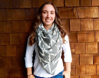 Summer Scarf, Printed Scarf, Soft Scarf in Gray and Cream