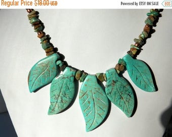On Sale Turquoise Leaf Necklace with Brass and Copper Accents