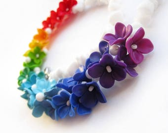 Rainbow statement necklaces Polymer clay necklace Flowers necklace Colorful necklace Gifts for her Free shipping