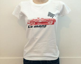 """T-shirt White car Le Mans vintage woman """"From the Mans Caro"""""""