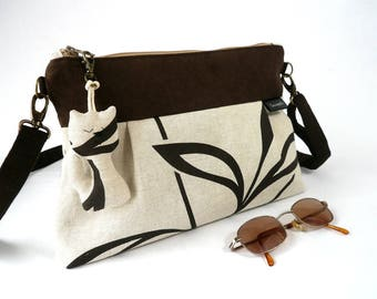 Shoulder bag zipped, chic bag, Brown and beige