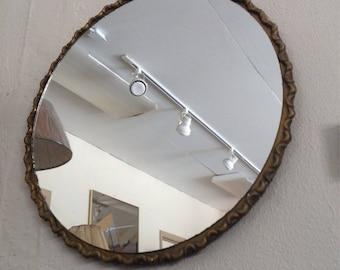 Art Deco Wall Mount Brass Frame Mirror 1930's