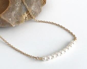 Pearl Choker Necklace - Pearl Choker Necklaces for Women - Dainty Pearl Choker Necklace - Gold - Rose Gold - Sterling Silver