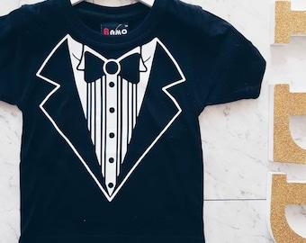 Black Tuxedo Tee - Last one - Free Standard Post