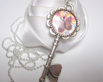 Butterfly Fairy key pendant necklace