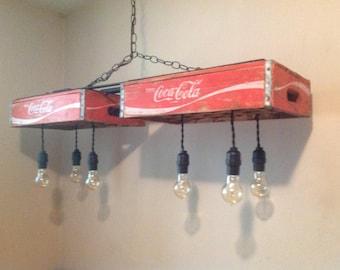 Vintage Coca Cola Crate Light/ Chandelier