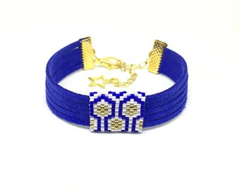 Bee Apis blue, white and gold suede and bead weaving bracelet with miyuki beads