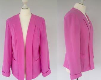 Vintage 80s Pink Blazer, Pink Jacket, Retro Blazer, Vintage Pink Jacket, 1980s Blazer, Smart Blazer, Casual Jacket, Summer Blazer, Size 12