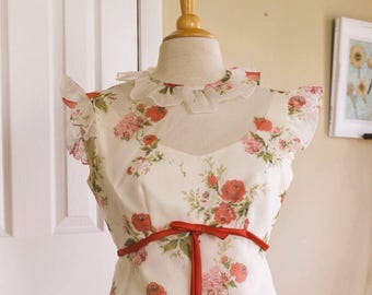 60s floral dress | summer pink rose long ruffle LORRIE DEB dress