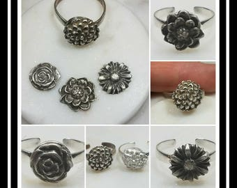 Flower Memorial Ash Ring/Pure Silver Cremation Ring /Memorial Ash Ring/Pet Memorial/Cremation Jewelry