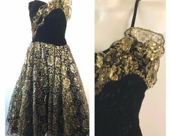 Vintage 70s Gold Metallic Lame Prom Dress Black Velvet Floral Tulle Spaghetti Strap
