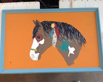 Indian war pony horse sign or nursery wall hanging recycled wood southwest decor