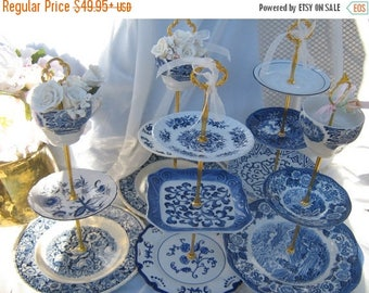 3 Tier Blue Willow Cake Stand, 3 Tier Blue and White Cupcake Stand, 3 Tier Pastry Stand, 3 Tier Dessert Stand, China Jewelry Stand