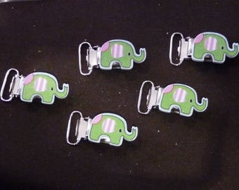 Pacifier clips green elephant.