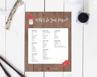 Printable Maroon Rustic Bridal Shower Purse Game