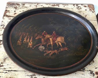 Vintage EQUESTRIAL METAL TRAY, Fox Hunt Horse and Hound, Large Black Oval Tray, English Hunting Scene