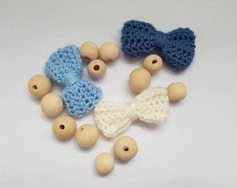 Denim Blues Crochet Hair Bows