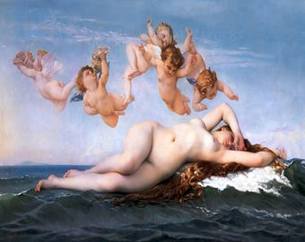 "Alexandre Cabanel ""The Birth of Venus"" Cherubs Ocean Greek Mythology 1875 Reproduction Print"