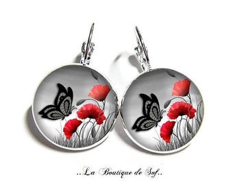 Earrings sleepers silver or bronze with cabochon 18 mm * poppies * (070617)