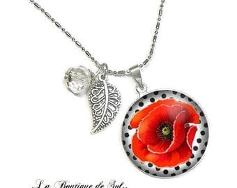 With its 25 mm cabochon beads necklace * poppy * (050218)