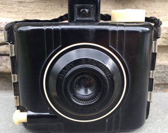 Vintage Baby Brownie Special Camera...Photography. Photos. Plastic. Leather. Shutter. Black. Cream. Antique. Old. Kodak.