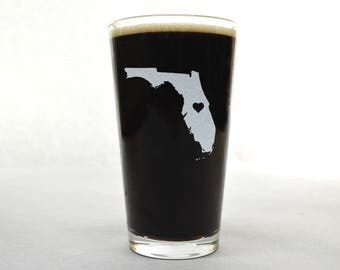Florida Beer Glass - State Pint Glass - Pint Glass - Personalized Pint Glass - Etched Pint Glass - Groomsmen Pint Glass