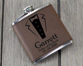 Custom Groomsmen Suit Flask - Leather Flask - Groomsmen Gift - Wedding gift - Personalized Wedding Flask