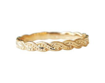 Gold Ring, Rope Ring, Twisted Rope Ring, Band Ring, Gold Plated Ring