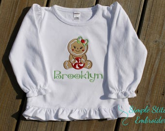 Personalized Girl Gingerbread Shirt