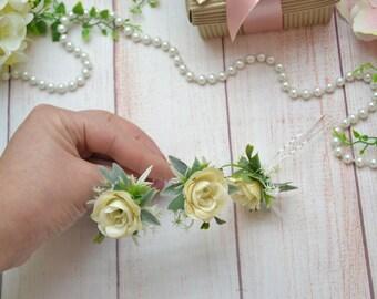 Wedding hair pins Flower accessories Bridal hair Ivory roses Set of hair pins Flower girl hair Wedding hair Flower hair pins Boho wedding