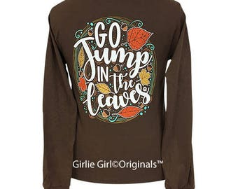Girlie Girl Originals Jump in the Leaves Long Sleeve Chocolate T-Shirt