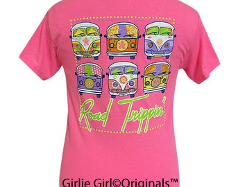 Girlie Girl Originals Road Trippin' Safety Pink Short Sleeve T-Shirt