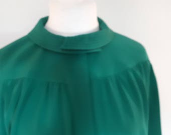 Vintage dress emerald green  black dress 80s Frank Usher one size small medium large